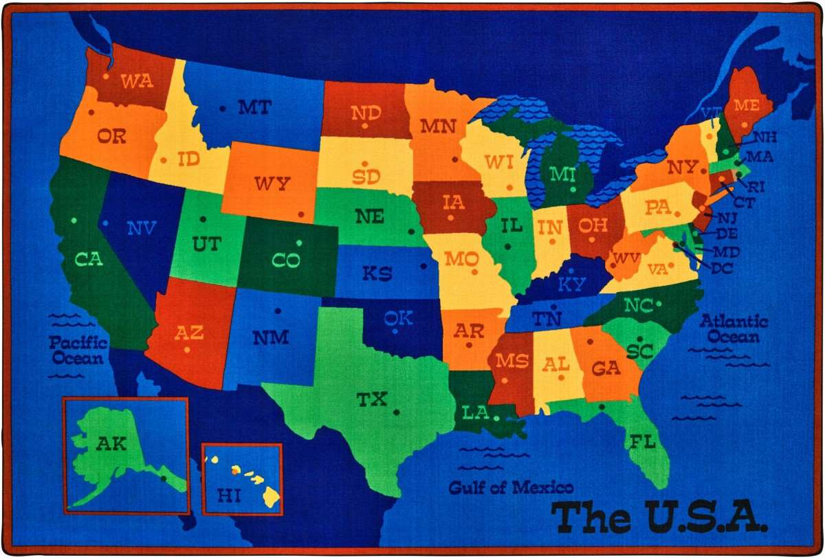 Usa Map 6'X9' Rectangle CAR7295 Carpets For Kids Geography Carpets Kids Map Of The Usa on large map of usa, roadmap of the usa, map of usa states, physical map of usa, postcard of the usa, parts of the usa, rivers of the usa, full map of usa, climate of the usa, united states maps usa, travel the usa, mal of the usa, map of time zones in usa, driving road map usa, flag of the usa, blank map of usa, states of the usa, outline of the usa, map of east coast usa, atlas of the usa,