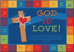 "God is Love Learning Rug Rectangle 3'10''x5'5"" Carpet, Rugs For Kids"
