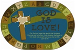 Nature's Colors God Is Love Learning Oval 8'X12' Carpet, Rugs For Kids