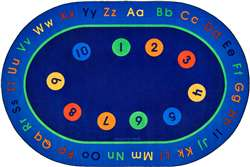 "Basic Concepts Literacy Rug 6'9""x9'5"" Oval Carpet, Rugs For Kids"