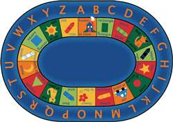 "Bilingual Circletime Rug Oval 6'9''x9'5"" Carpet, Rugs For Kids"