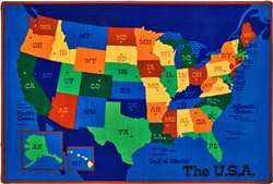 USA Map 8'x12' Rectangle Carpet, Rugs For Kids