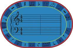 A-Sharp Music Rug 8'x12' Oval Carpet, Rugs For Kids