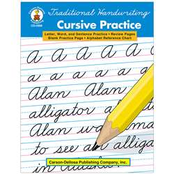 Traditional Handwriting Cursive Practice Book By Carson Dellosa
