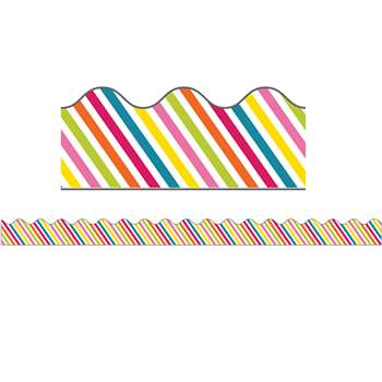School Pop Rainbow Stripe Scalloped Border, CD-108258
