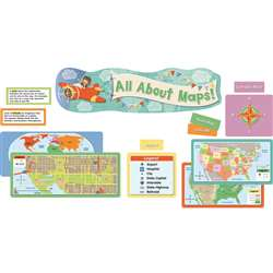 All About Maps Mini Bulletin Board Setgr K-3, CD-110349