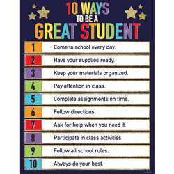 10 Ways To Be A Great Student Chart Sparkle And Sh, CD-114249