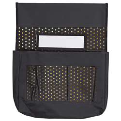 Chairback Buddy Black with Gold Polka Dots, CD-158181