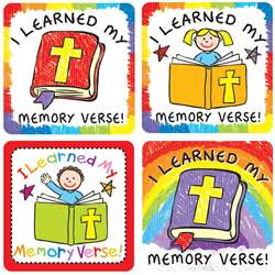 I Learned My Memory Verse Stickers 120 Pc, CD-168171