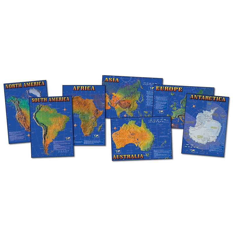 Bulletin Board Set Seven Continents Of World 7 Physical Maps 17 X 24 ...