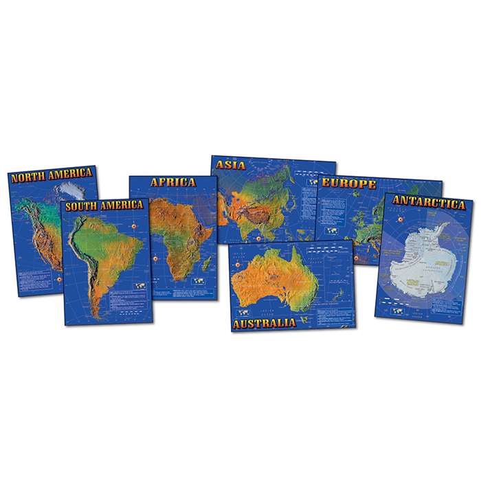 Bb Set Seven Continents Of World 7 Physical Maps 17 X 24 By Carson Dellosa