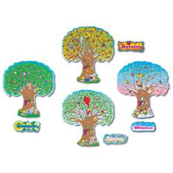 "Four Seasons Trees 4 - 25"" Tall Bulletin Board Set By Carson Dellosa"