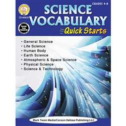 Sci Vocabulary Quick Starts Gr 4-9, CD-405018