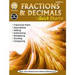 Fractions Decimals Quick Starts Gr 4-9, CD-405021