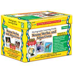 Nouns Verbs And Adjectives Photo Learning Cards By Carson Dellosa