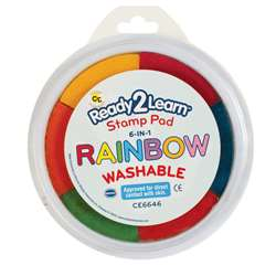 Jumbo Circular Washable 6-In-1 Pads Rainbow Yel Red Org Blk Blu & Pnk By Center Enterprises