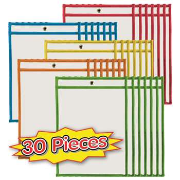 Dry Erase Pockets Asrtd Colors 30Bx, CHL29030