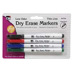 Dry Erase Marker Thin Line 4 Pack Assorted Colors, CHL47834