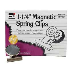 Magnetic Spring Clips 1 1/4 Box-24 1 Each By Charles Leonard