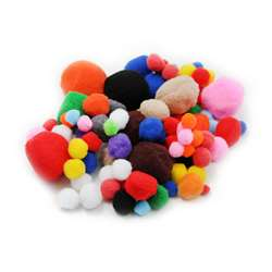 Pom Poms Asst Sizes & Colors 100Ct, CHL69310