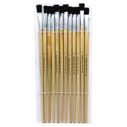 "Brushes Easel Flat 1/2"" Bristle 12Ct, CHL73550"