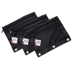 Black 2 Pocket Pencil Pouch 3 Pack, CHL76351