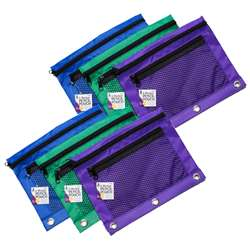 Pencil Pouch 3 Assrtd Colors 6Pk 2 Pocket Mesh Fro, CHL76359