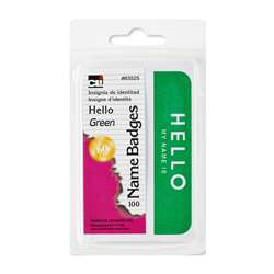 Name Badges Hello Green Charles Leonard Self Adhes, CHL93525