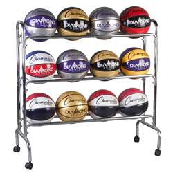 Portable Ball Rack 3 Tier Holds 12 Balls By Champion Sports