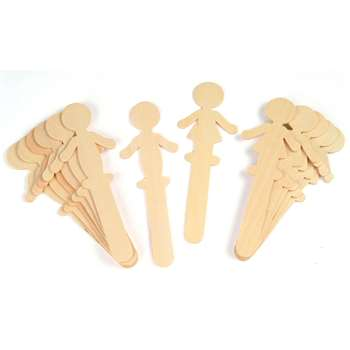 People Shaped Wood Craft 16 Pieces Sticks 8 Each By Chenille Kraft