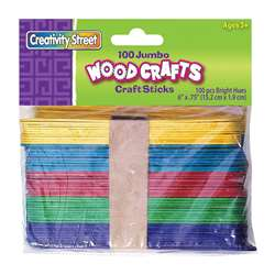 Jumbo Craft Sticks 6 X 3/4 100/Pk Bright Hues By Chenille Kraft