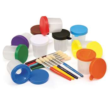 Paint Cups & Brushes Set 10 Cups W/ 10 Color Coordinated Brushes By Chenille Kraft