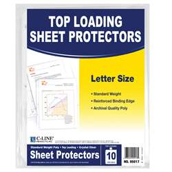 C Line Crystal Clear 10Pk Standard Weight Sheet Protectors By C-Line