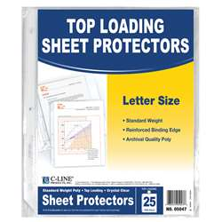 C Line Crystal Clear 25Pk Standard Weight Sheet Protectors By C-Line