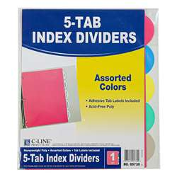 5 Tab Poly Index Dividers Assorted 5 Standard Tab By C-Line