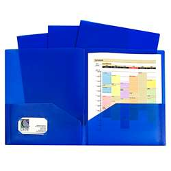 Blue Two Pocket Poly Portfolios Without Prongs Pac, CLI32955