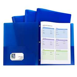 Blue Two Pocket Poly Portfolios With Prongs Pack O, CLI32965