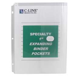 Binder Pocket Velcro Closure 10Pk Specialty Binderpocket Clear By C-Line