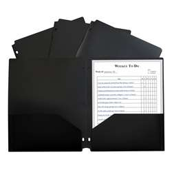 2 Pocket Poly Portfolio Black with 3 Hole Punch, CLI33931