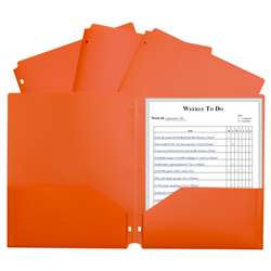 2 Pocket Poly Portfolio Orange with 3 Hole Punch, CLI33932