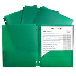 2 Pocket Poly Portfolio Green with 3 Hole Punch, CLI33933