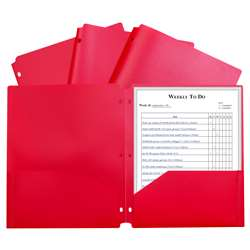 2 Pocket Poly Portfolio Red with 3 Hole Punch, CLI33934