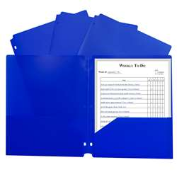 2 Pocket Poly Portfolio Blue with 3 Hole Punch, CLI33935