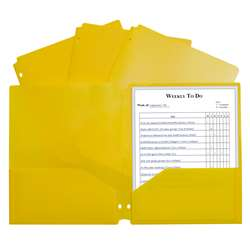 2 Pocket Poly Portfolio Yellow with 3 Hole Punch, CLI33936