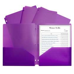 2 Pocket Poly Portfolio Purple with 3 Hole Punch, CLI33939