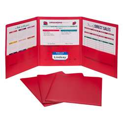 3 Pocket Poly Portfolio Red 24Bx, CLI33944