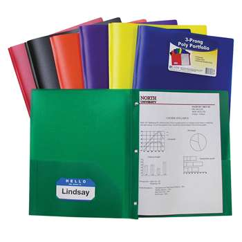 Two Pocket Poly Portfolios 36/Box Assorted With Prongs By C-Line