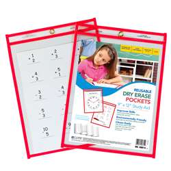 Reusable 9X12 Dry Erase Pockets Red Neon By C-Line