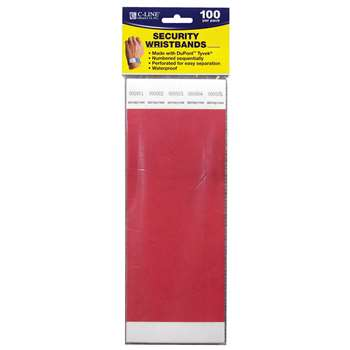 C Line Dupont Tyvek Red Security Wristbands 100Pk By C-Line