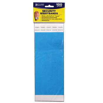 C Line Dupont Tyvek Blue Security Wristbands 100Pk By C-Line